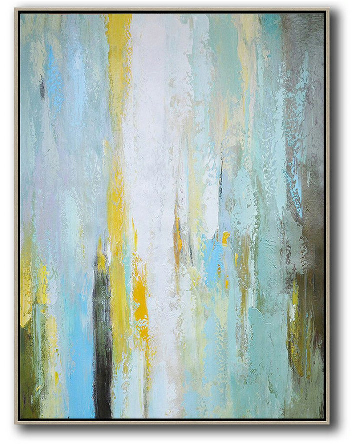 Vertical Palette Knife Contemporary Art,Modern Art,Blue,White,Yellow,