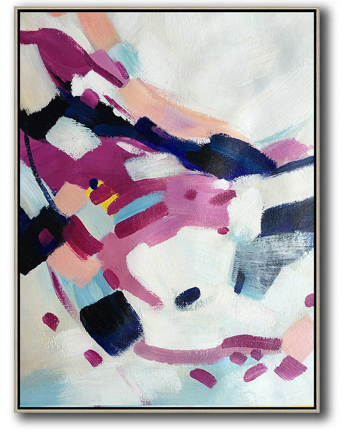 Vertical Palette Knife Contemporary Art,Hand Paint Large Art,White,Pink,Dark Blue,Grey