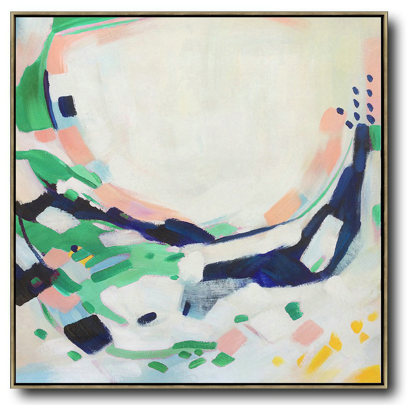 Oversized Contemporary Art,Canvas Paintings For Sale,White,Pink,Green