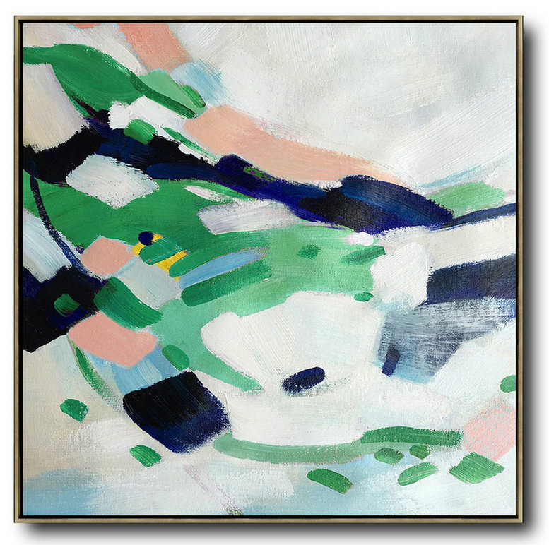 Oversized Contemporary Art,Large Canvas Art,White,Green,Pink