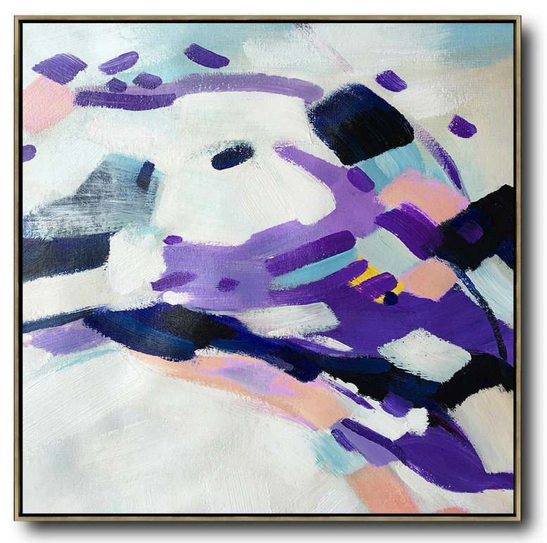 Oversized Contemporary Art,Hand-Painted Canvas Art,White,Purple,Pink,Black