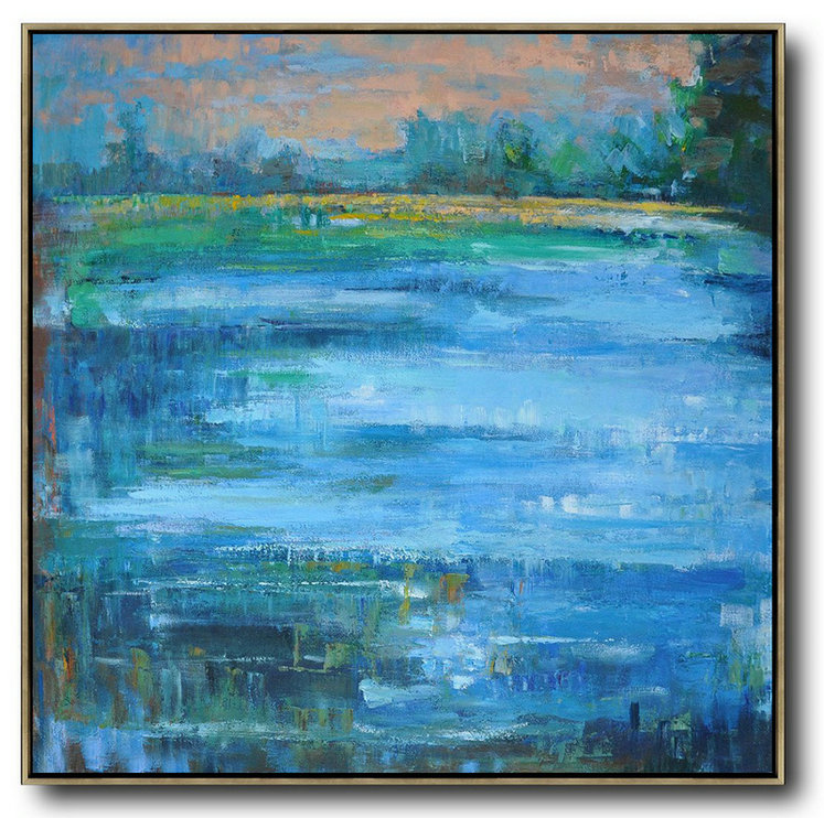Oversized Abstract Landscape Oil Painting,Huge Abstract Canvas Art,Blue,Green,Yellow,Nude