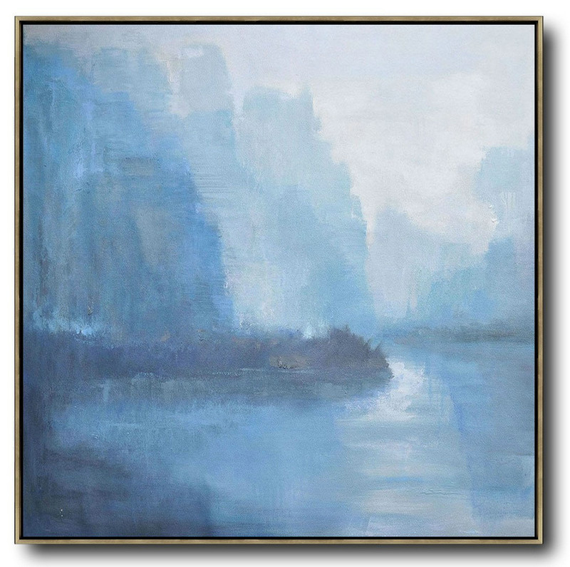 Oversized Abstract Landscape Oil Painting,Original Art Acrylic Painting,White,Blue,Grey