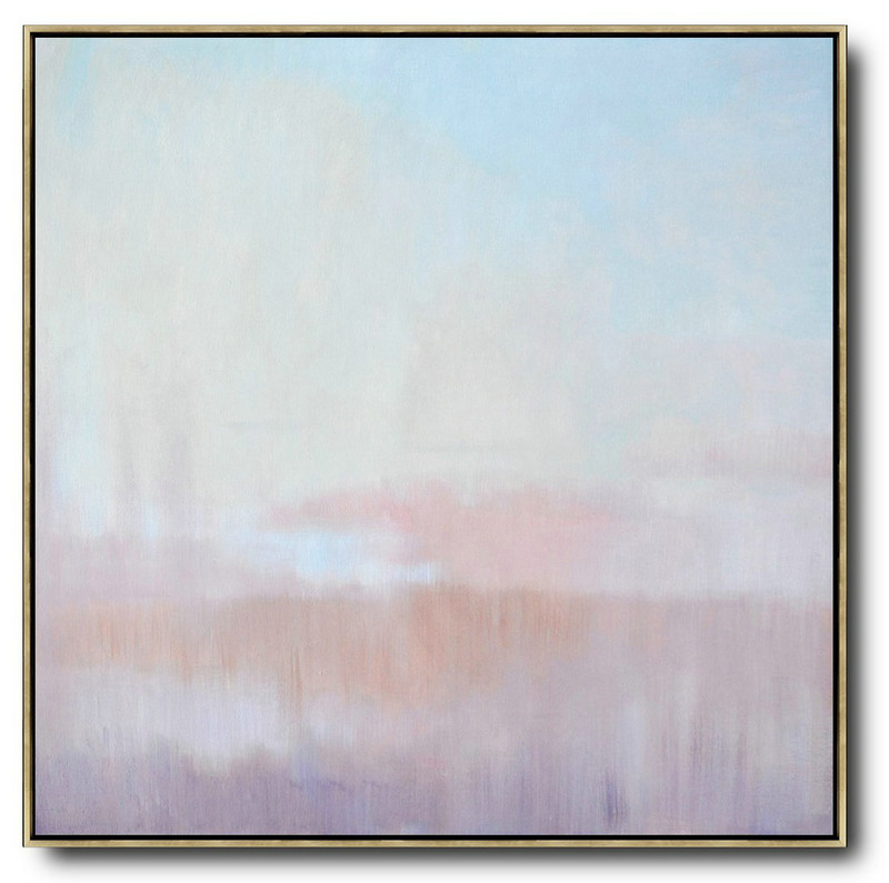 Oversized Abstract Landscape Oil Painting,Hand Painted Original Art,Blue,Pink,Purple