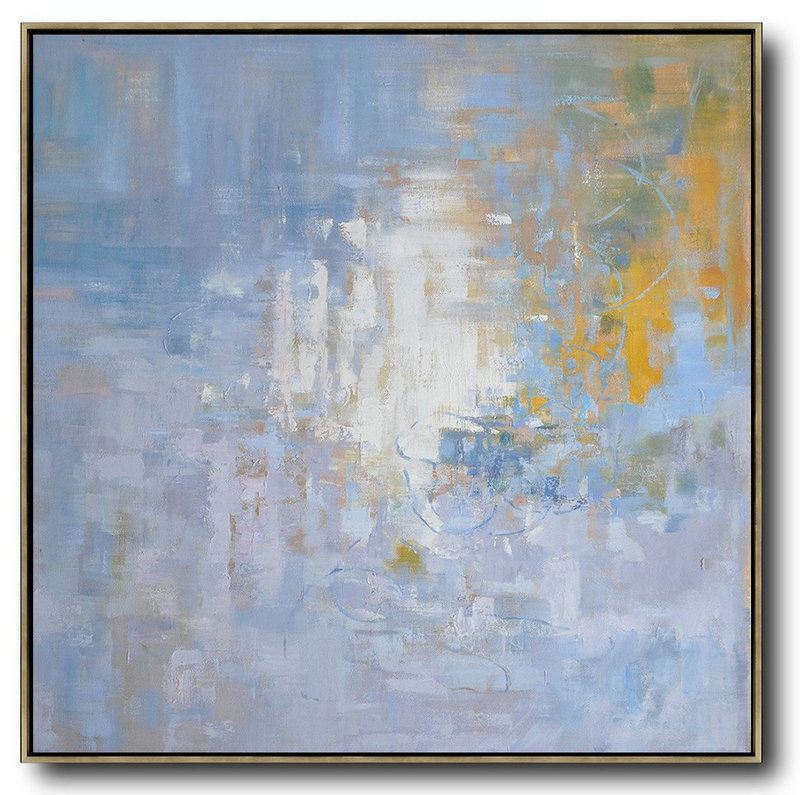 Oversized Abstract Landscape Oil Painting,Canvas Artwork For Sale,Blue,Yellow,White