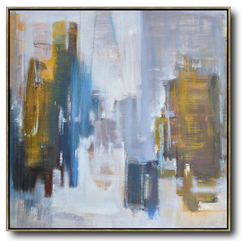 Oversized Abstract Landscape Oil Painting,Size Extra Large Abstract Art,Yellow,White,Blue