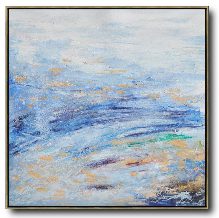 Oversized Abstract Landscape Oil Painting,Modern Abstract Wall Art,Blue,White,Blue