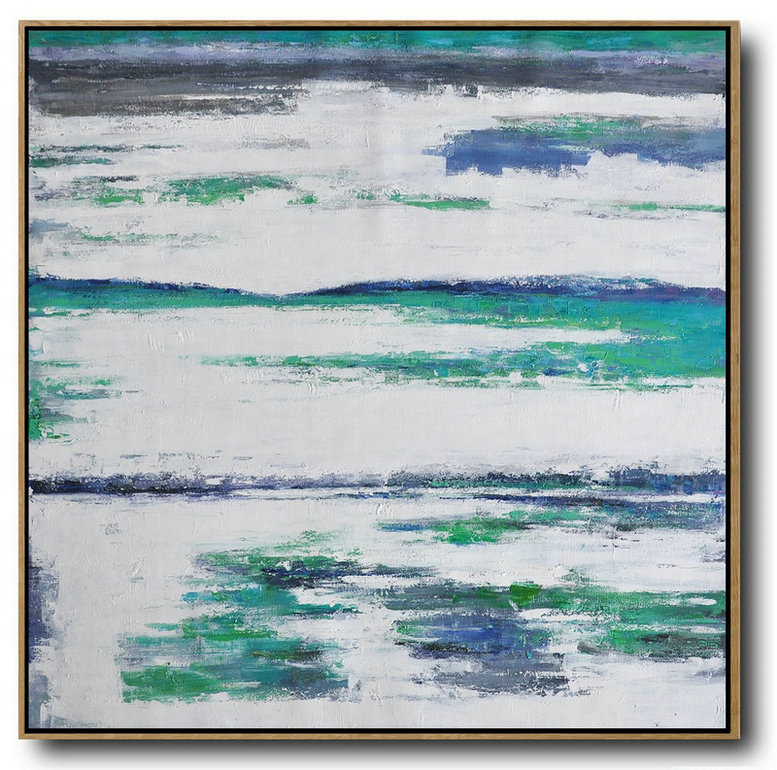 Large Abstract Landscape Oil Painting On Canvas,Large Wall Art Home Decor,Green,White,Blue