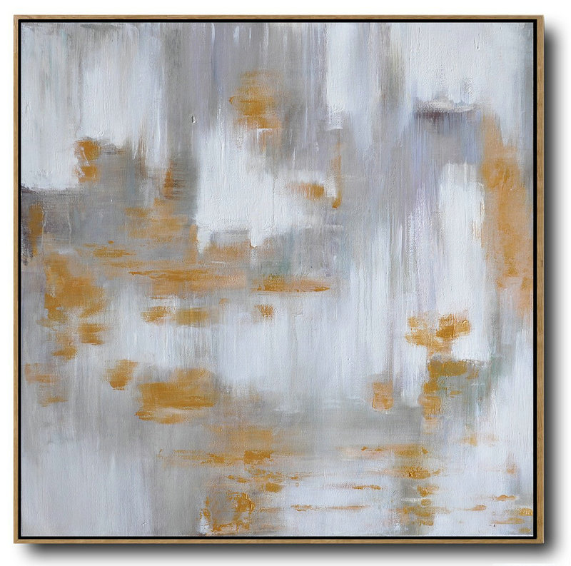 Large Abstract Landscape Oil Painting On Canvas,Living Room Wall Art,Glod,White,Grey