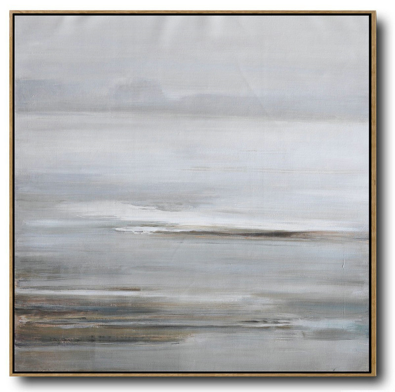 Large Abstract Landscape Oil Painting On Canvas,Large Contemporary Painting,Gray,White,Yellow