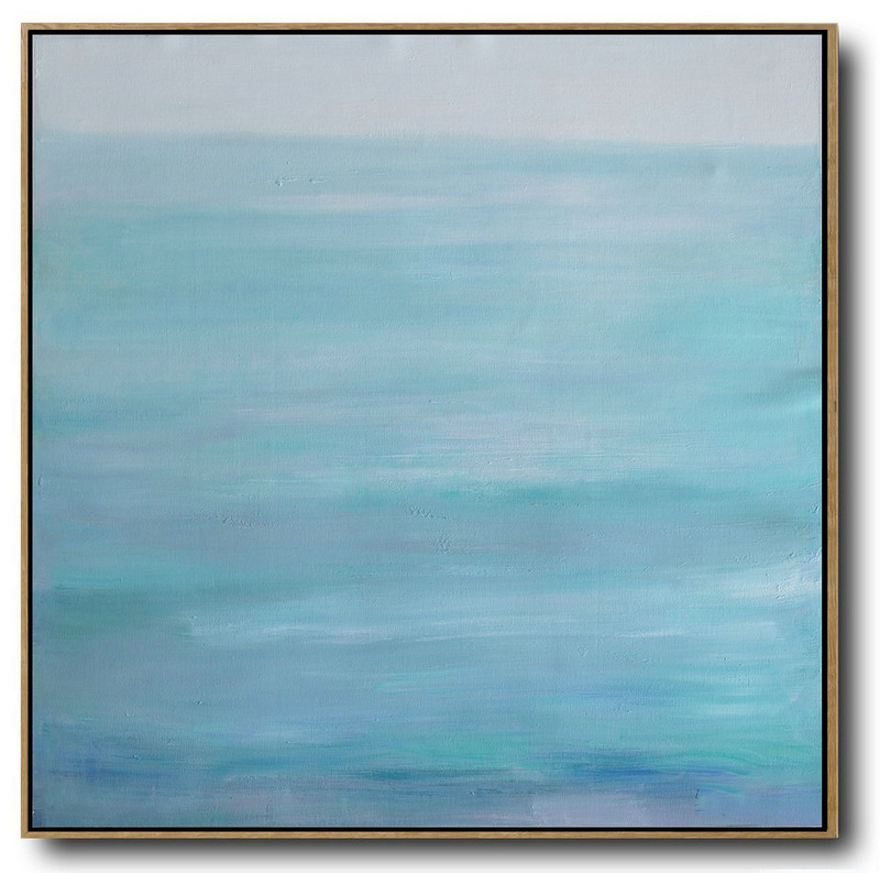 Large Abstract Landscape Oil Painting On Canvas,Acrylic Painting On Canvas,Green,Blue,Gray