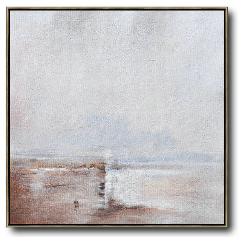 Oversized Abstract Landscape Painting,Art Work,White,Brown,White