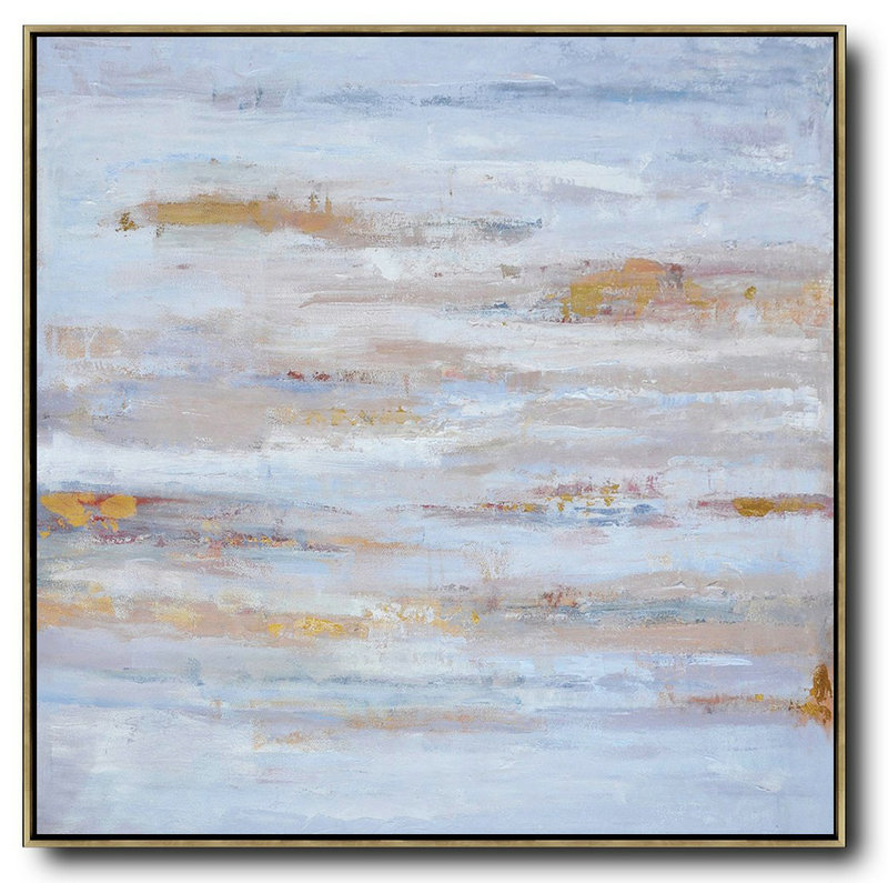 Oversized Contemporary Oil Painting,Modern Canvas Art,Sky Blue,Gray,White