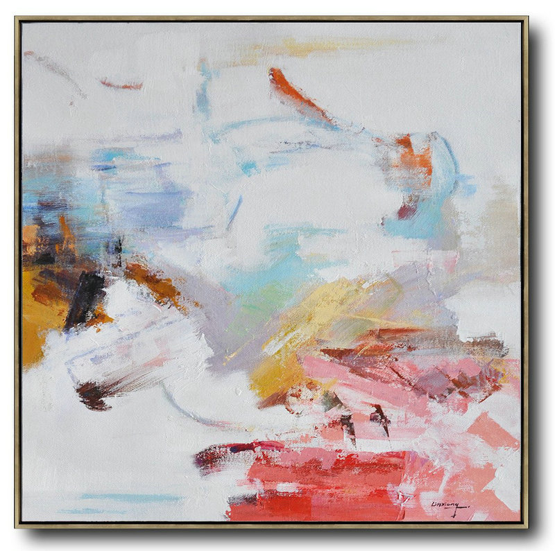 Oversized Contemporary Oil Painting,Abstract Oil Painting,White,Red,Blue,Yellow