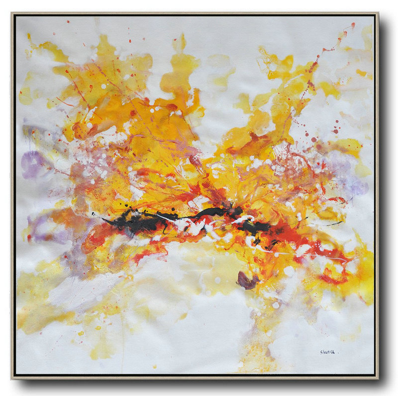 Oversized Abstract Oil Painting,Extra Large Paintings,Yellow,White,Purple,Red