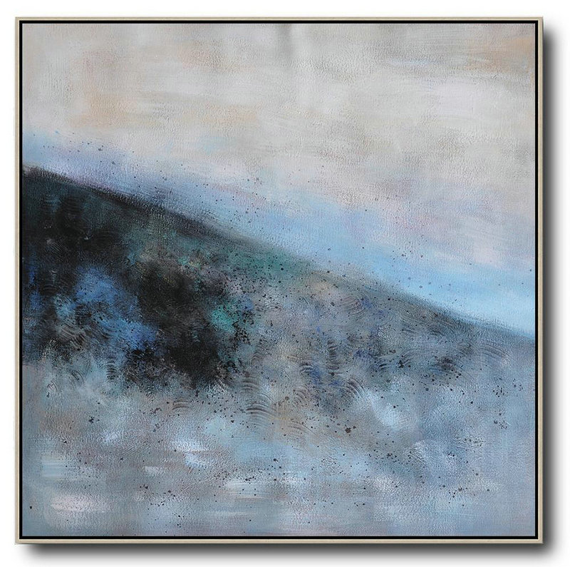 Oversized Abstract Landscape Painting,Hand Painted Abstract Art,Gray,Blue,Black