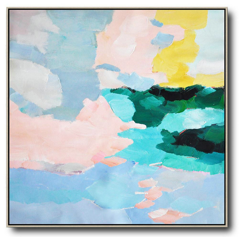Oversized Abstract Art,Large Abstract Wall Art,Blue,Green,Pink,Yellow