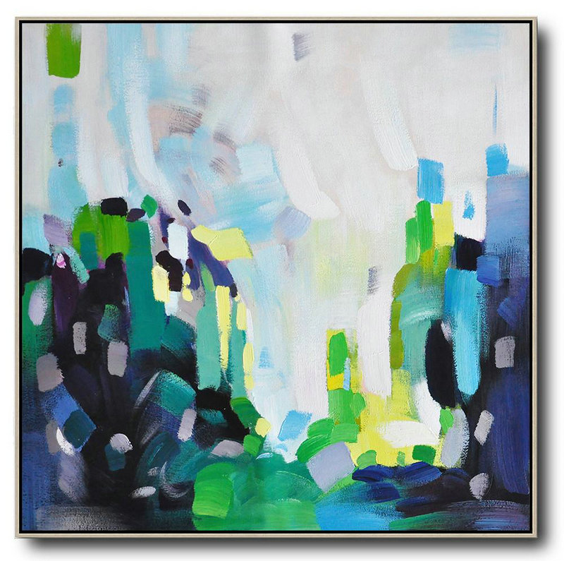 Oversized Abstract Art,Oversized Canvas Art,White,Green,Black,Yellow