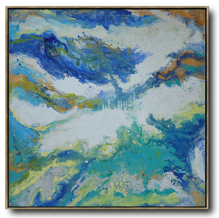 Contemporary Oil Painting,Custom Canvas Wall Art,White,Blue,Green