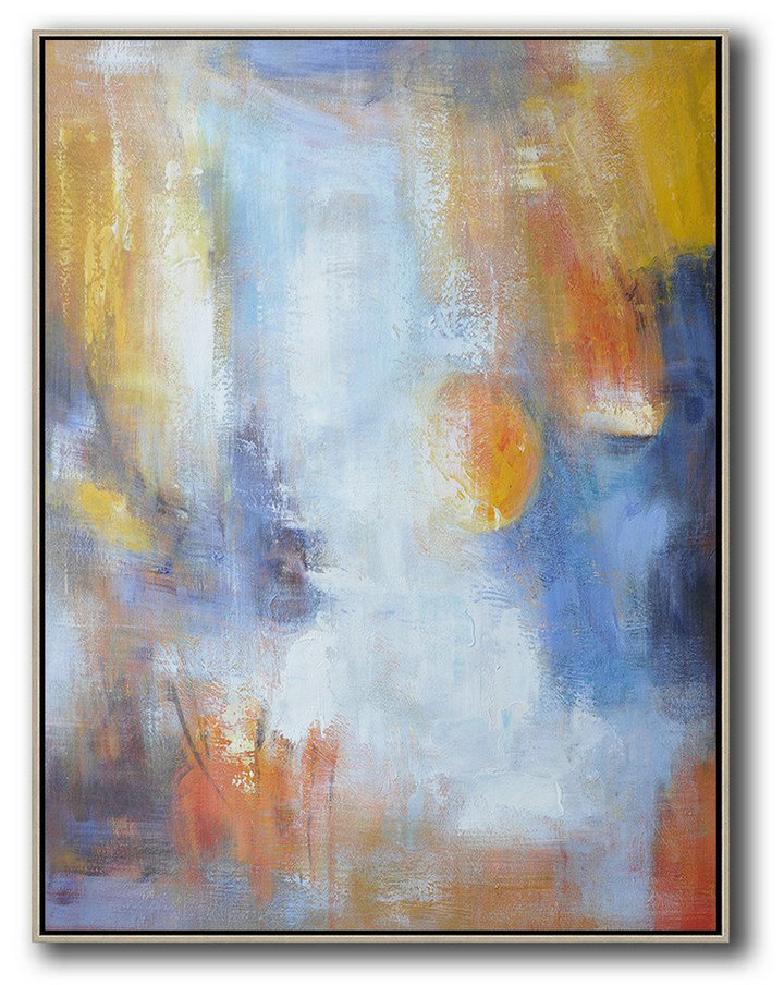 Vertical Palette Knife Contemporary Art,Large Wall Art Canvas,White,Blue,Earthy Yellow