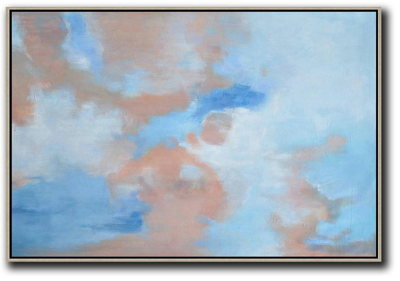 Horizontal Abstract Landscape Oil Painting On Canvas,Extra Large Wall Art,Sky Blue,Nude,White