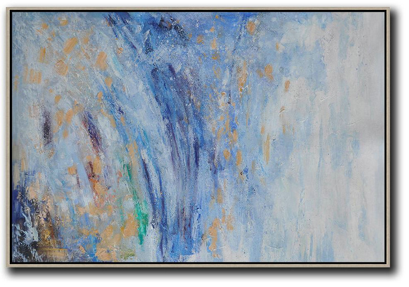 Horizontal Abstract Landscape Oil Painting On Canvas,Large Canvas Art,Modern Art Abstract Painting,Blue,White,Yellow