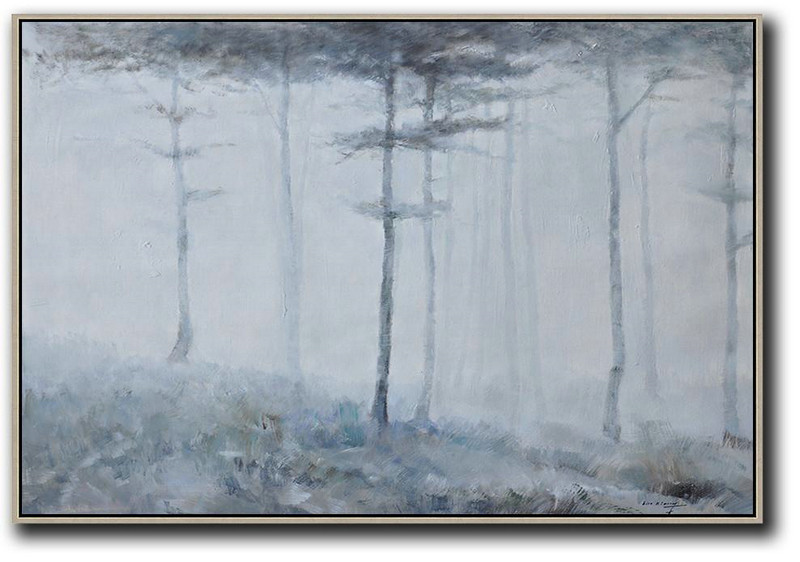 Horizontal Abstract Landscape Oil Painting On Canvas,Acrylic Painting Large Wall Art,Grey,White,Dark Green