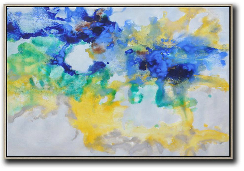Hand Painted Horizontal Abstract Oil Painting On Canvas,Living Room Wall Art,Blue,Yellow,Green,Grey