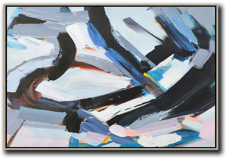 Horizontal Palette Knife Contemporary Art,Contemporary Art Canvas Painting,White,Grey,Dark Blue,Black