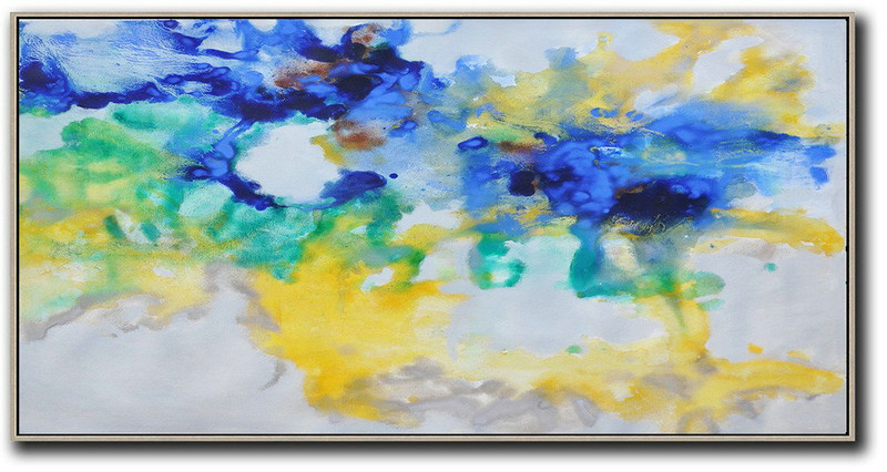 Hand Painted Panoramic Abstract Oil Painting On Canvas,Abstract Painting On Canvas,Grey,Yellow,Blue,Green
