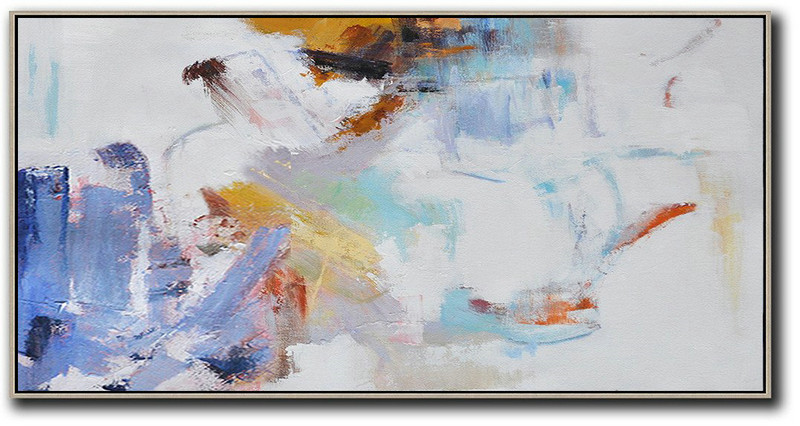 Horizontal Abstract Art On Canvas,Canvas Wall Paintings,White,Blue,Grey,Earthy Yellow
