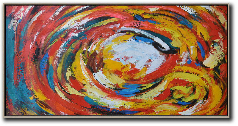 Horizontal Palette Knife Abstract Flower Art,Contemporary Wall Art,White,Red,Yellow,Blue