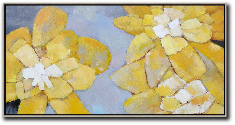 Horizontal Palette Knife Contemporary Art,Contemporary Art Canvas Painting,Dusty Blue,Yellow,White
