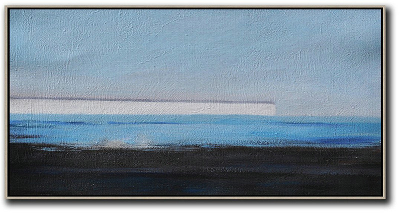 Hand Painted Panoramic Abstract Painting,Large Canvas Art,Sky Blue,White,Blue,Black