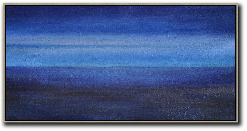 Hand Painted Panoramic Abstract Painting,Hand Painted Acrylic Painting,Dark Blue,Light Blue,Black
