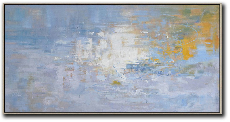 Panoramic Abstract Landscape Painting,Handmade Acrylic Painting,Light Blue,Yellow,White