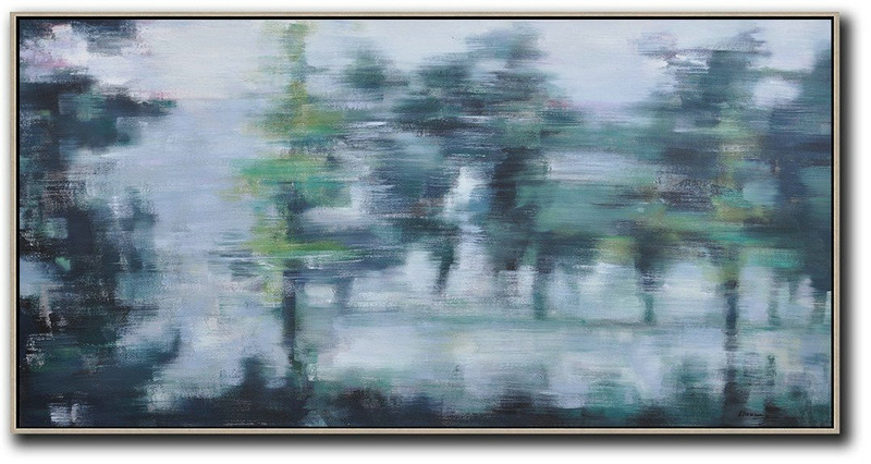 Panoramic Abstract Landscape Painting,Acrylic Minimailist Painting,Grey,Dark Green,Black
