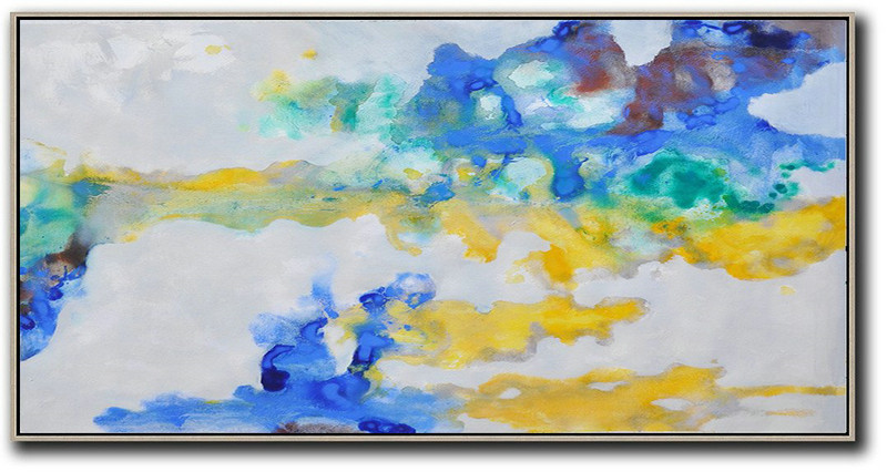 Panoramic Abstract Oil Painting On Canvas,Textured Painting Canvas Art,Grey,Yellow,Blue