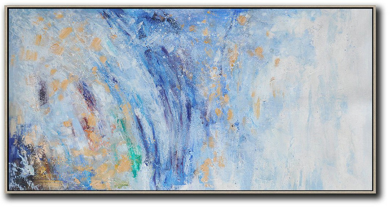 Panoramic Abstract Oil Painting On Canvas,Modern Wall Decor,Blue,White,Yellow