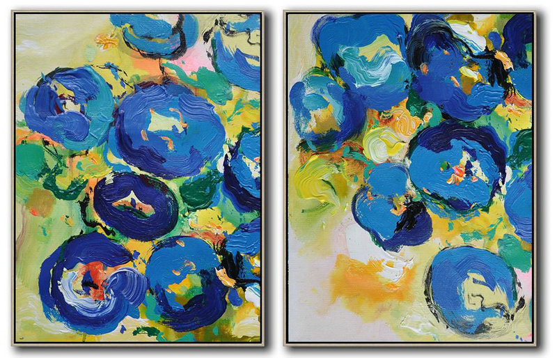 Set Of 2 Abstract Flower Painting On Canvas,Oversized Art,Yellow,Blue,Green