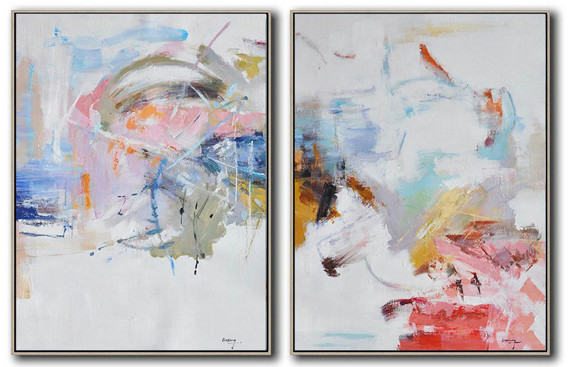 Set Of 2 Abstract Oil Painting On Canvas,Large Abstract Wall Art,White,Pink,Blue,Gray