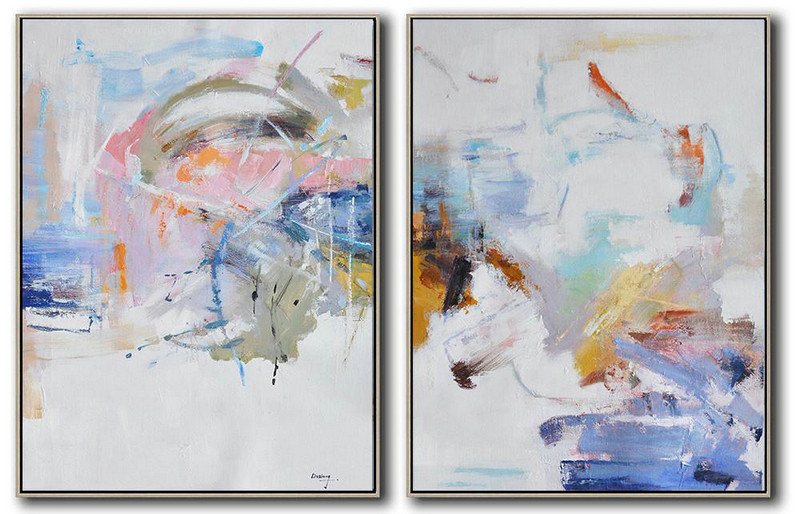 Set Of 2 Abstract Oil Painting On Canvas,Modern Wall Art,White,Grey,Pink,Blue,Yellow
