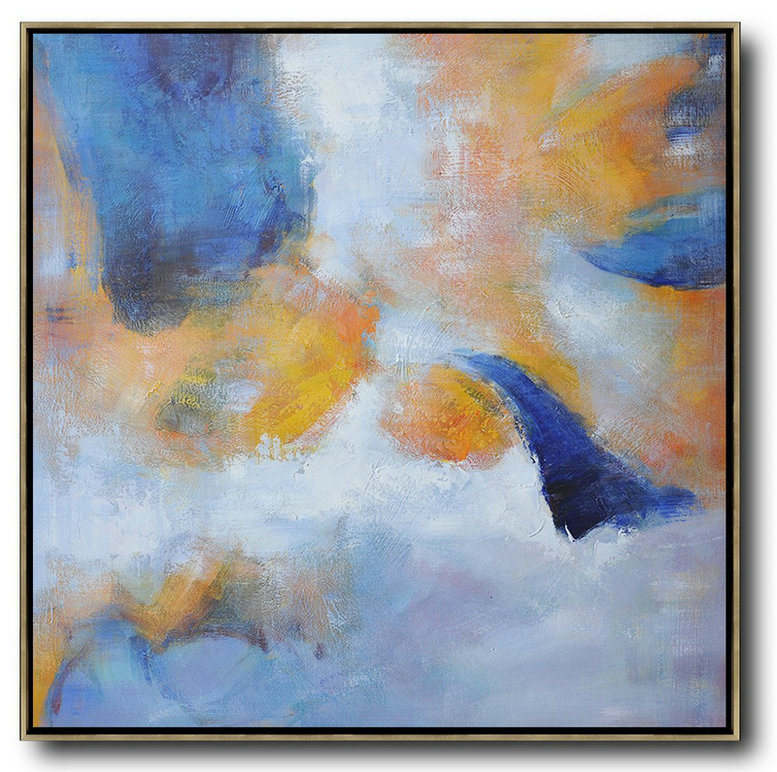 Oversized Square Abstract Art,Modern Art Abstract Painting,White,Blue,Yellow