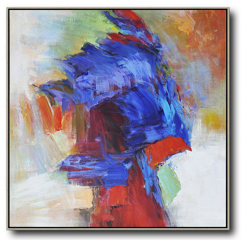 Oversized Square Abstract Art,Contemporary Art Acrylic Painting,Blue,Red,Orange