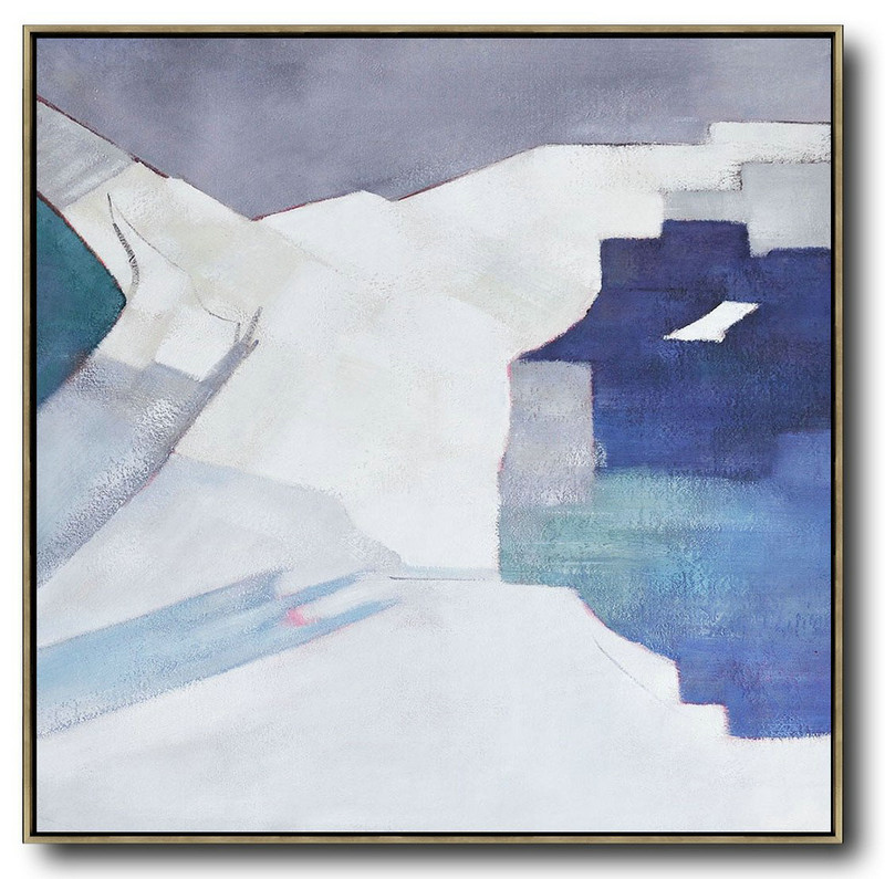 Oversized Contemporary Art,Lounge Wall Decor,Blue,White,Grey