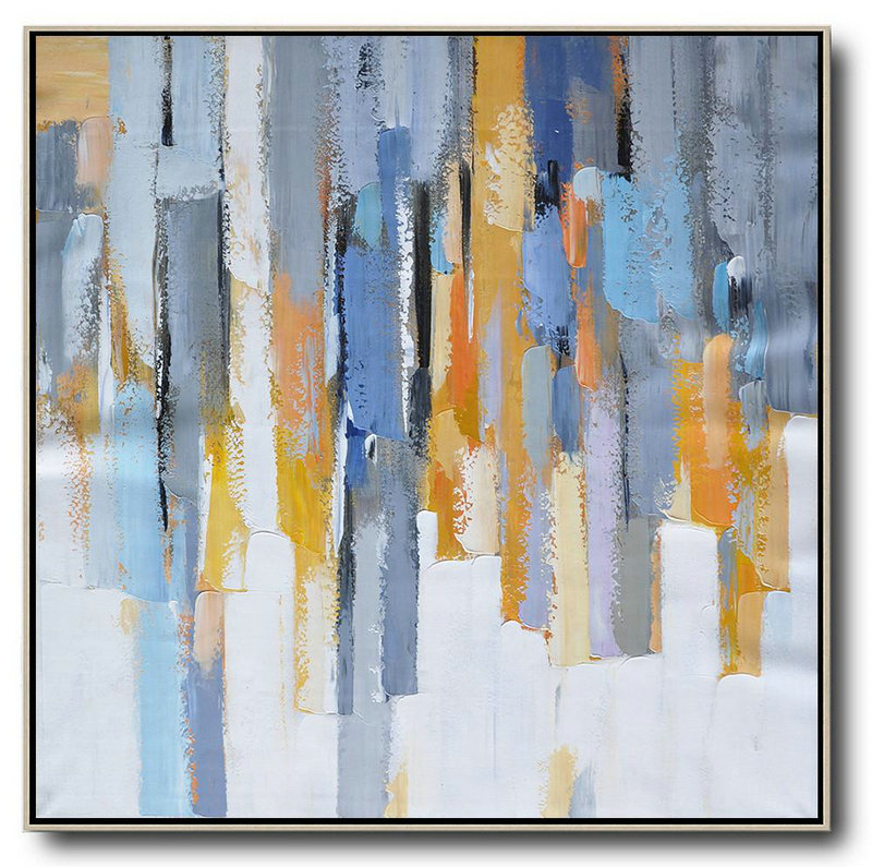 Oversized Contemporary Art,Hand Paint Large Clean Modern Art,White,Yellow,Blue,Grey,Orange