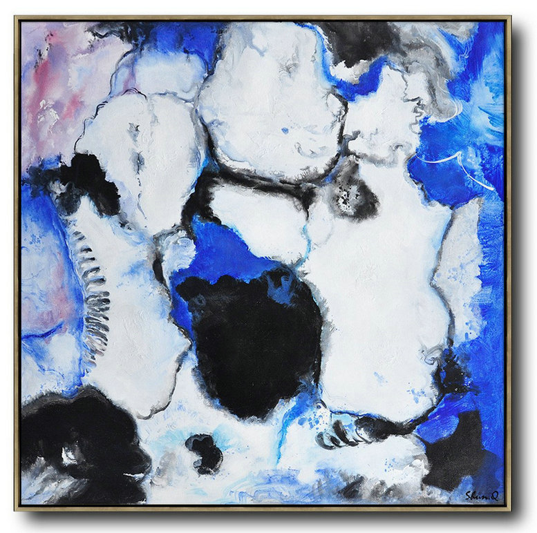 Contemporary Oil Painting,Hand Painted Abstract Art,Blue,White,Black,Purple