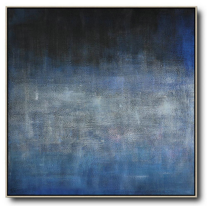 Oversized Contemporary Painting,Pretty Abstract Paintings,Dark Blue,Black,Grey