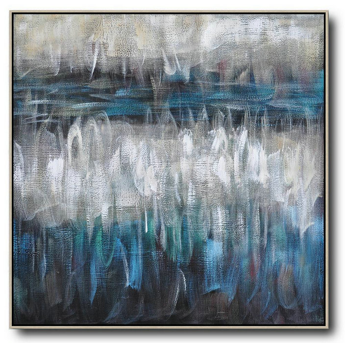 Oversized Contemporary Painting,Contemporary Abstract Painting,White,Blue,Brown,Black