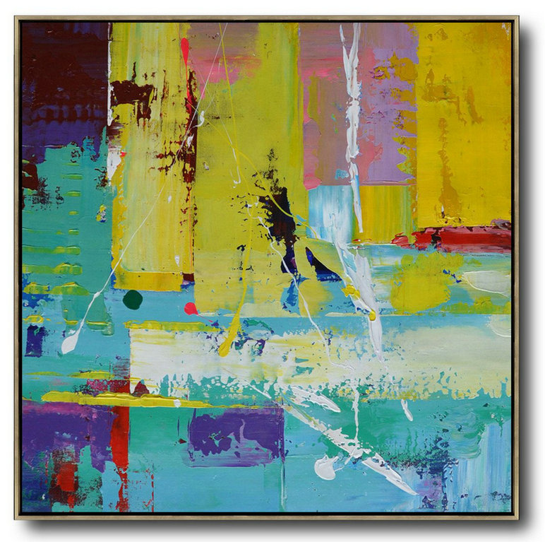 Oversized Palette Knife Painting Contemporary Art,Multicolor Abstract Painting,Lake Blue,Purple,Yellow,Red